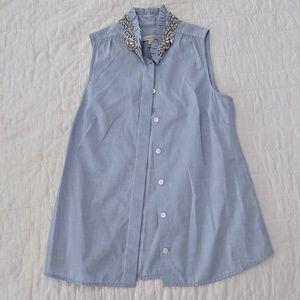 J.Crew Studded rhinestone blouse in light blue